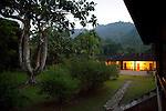 Lodge at twilight in the Peruvian Amazon rainforest, Peru, South America