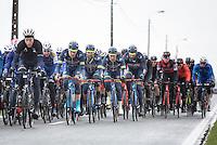 Wanty Groupe-Gobert riders escorting Napoleon Cup leader Guillaume van Keirsbulck (BEL/Wanty-Groupe Gobert) through the peloton<br /> <br /> 1st Dwars door West-Vlaanderen 2017 (1.1)