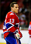 31 March 2010: Montreal Canadiens' left wing forward Mike Cammalleri warms up prior to a game against the Carolina Hurricanes at the Bell Centre in Montreal, Quebec, Canada. The Hurricanes defeated the Canadiens 2-1 in their last meeting of the regular season. Mandatory Credit: Ed Wolfstein Photo