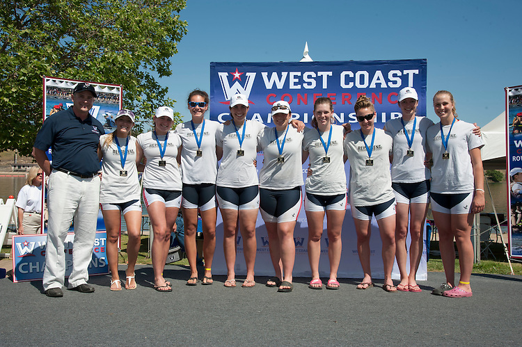 May 12, 2012; Gold River, CA, USA; WCC commissioner Jamie Zaninovich (far left) with 2012 WCC Second Varsity Eight champions Gonzaga Bulldogs athletes (not in order) Natalie Wolfrom, Christine Powers, Erin Russell, Casey Burt, Anna Olson, Mari Schramm, Sarah Atkins, Jordan Davies, and Christi Mentele during the WCC Rowing Championships at Lake Natoma.