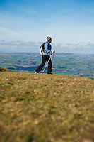 Female hiker hiking near Hay Bluff, Black Mountains, Wales