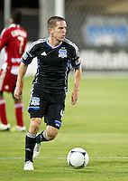SANTA CLARA, CA - July 18, 2012: San Jose Earthquake midfielder Sam Cronin (4) during the San Jose Earthquakes vs  FC Dallas match at the Buck Shaw Stadium in Santa Clara, California. Final score San Jose Earthquakes 2, FC Dallas 1.