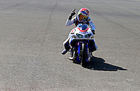Jul. 28, 2013; Sonoma, CA, USA: NHRA pro stock motorcycle rider Hector Arana Jr celebrates after winning the Sonoma Nationals at Sonoma Raceway. Mandatory Credit: Mark J. Rebilas-