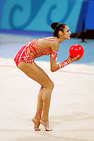 Anna Bessonova of Ukraine expresses with ball during qualifications round at 2004 Athens Olympic Games on August 26, 2006 at Athens, Greece. (Photo by Tom Theobald)