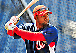 23 April 2010: Washington Nationals' center fielder Willy Taveras takes batting practice prior to a game against the Los Angeles Dodgers at Nationals Park in Washington, DC. The Nationals defeated the Dodgers 5-1 in the first game of their 3-game series. Mandatory Credit: Ed Wolfstein Photo
