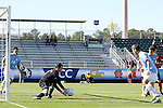 14 November 2010: UNC's Scott Goodwin makes a save. The University of Maryland Terrapins defeated the University of North Carolina Tar Heels 1-0 at WakeMed Soccer Park in Cary, North Carolina in the ACC Men's Soccer Tournament Championship game.