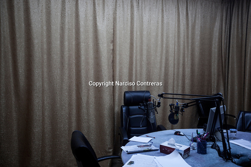 Friday 20, May 2016: The radio booth of Misrata FM, a radio station founded during the 2011 war from where is widey broadcasting the ongoing fighting against the IS (Islamic State) in Libya.