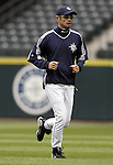 Seattle Mariners' Ichiro Suzuki jogs the outfield before the Mariners game against the Los Angeles Angels in Seattle, Washington on Wednesday, 14 August, 2005.Jim Bryant Photo. ©2010. ALL RIGHTS RESERVED.