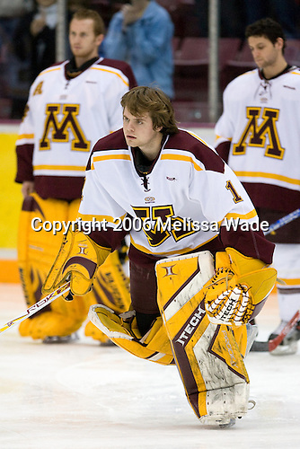 (Briggs, Kaufmann) Jeff Frazee (University of Minnesota - Burnsville, MN) is announced as a starter. The University of Minnesota Golden Gophers defeated the Michigan State University Spartans 5-4 on Friday, November 24, 2006 at Mariucci Arena in Minneapolis, Minnesota, as part of the College Hockey Showcase.