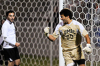 UMBC Retrievers goalkeeper Dan Louisignau (00) celebrates at the end of the game. UMBC Retrievers defeated Princeton Tigers 2-1 during the first round of the 2010 NCAA Division 1 Men's Soccer Championship at Roberts Stadium in Princeton, NJ, on November 18, 2010.