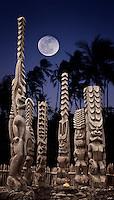 Ki'i and offering, on the platform of Hale o Keawe - Pu`uhonua o Honaunau National Historical Park, Hawaii island..