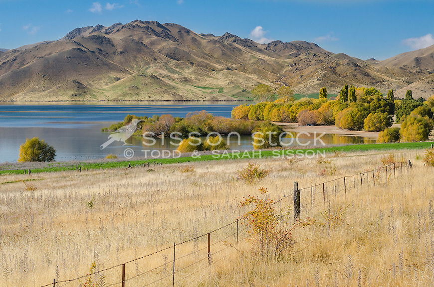 Lake Benmore Hydro Dam and farmland, Waitaki Valley, North Otago, New Zealand - stock photo, canvas, fine art print