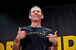 Lance Armstrong..Lance Armstrong along with Nike Sportswear and the LAF, Lance Armstrong Foundation, launched the Stages art project in Hollywood. Lance Armstrong and over 700 hundred cyclist rode down the Sunset blvd to the Montalban Theatre. The Stages Art event will fund a global fight against cancer and celebrate Lance's return to the bike racing. The art pieces will follow the Tour de France..Artist Shepard Fairey created a 3 piece mural of Lance Armstrong, which was showcased on the side of the Montablan Theatre.