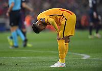 FUSSBALL CHAMPIONS LEAGUE  SAISON 2015/2016 VIERTELFINAL RUECKSPIEL Atletico Madrid - FC Barcelona       13.04.2016 Neymar (Barca) enttaeuscht