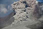Large pyroclastic flow descending flank of Sinabung Volcano, Sumatra, Indonesia
