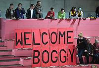 Basketball  1. Bundesliga  2016/2017  Hauptrunde  14. Spieltag  16.12.2016 Walter Tigers Tuebingen - Alba Berlin Walter Tigers Fans begeruessen ihren Ex-Spieler Bogdan Radosavljevic (Alba) Welcome Boggy!