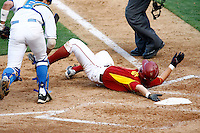 28 February 2010: #8 infielder Matt Hart running and tumbling onto home plate during the USC Trojans Baseball team during the first annual Dodgertown Classic at Dodger Stadium at Chavez Ravine. A college baseball round robin tournament sponsored by the MLB Los Angeles Dodgers. 14,588 were in attendance to watch the UCLA Bruins defeat the USC Trojans 6-1 on a sunny afternoon in Southern California.