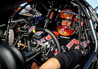 Sept. 5, 2010; Clermont, IN, USA; NHRA pro stock driver Greg Anderson during qualifying for the U.S. Nationals at O'Reilly Raceway Park at Indianapolis. Mandatory Credit: Mark J. Rebilas-