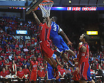 Ole Miss forward Steadman Short (15)  has shot blocked by Kentucky's Terrence Jones (3)  at the C.M. &quot;Tad&quot; Smith Coliseum in Oxford, Miss. on Tuesday, February 1, 2011. Ole Miss won 71-69.
