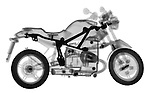 X-ray image of a toy motorcycle (black on white) by Jim Wehtje, specialist in x-ray art and design images.