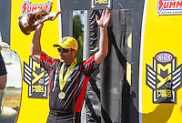 May 15, 2016; Commerce, GA, USA; NHRA pro stock motorcycle rider Eddie Krawiec celebrates after winning the Southern Nationals at Atlanta Dragway. Mandatory Credit: Mark J. Rebilas-USA TODAY Sports