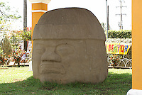 Collossal Olmec head in the main square of Santiago Tuxtla, Veracruz, Mexico. Known as the Cobata head, this is the largest known Olmec head.