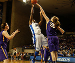 UK forward Samarie Walker gets her shot blocked by LSU forward Theresa Plaisance during the second half of the women's basketball game vs. LSU Memorial Coliseum , in Lexington, Ky., on Sunday, January 27, 2013. Photo by Genevieve Adams  | Staff.
