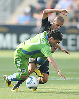 Fred #7 of the Philadelphia Union clashes with Fredy Montero #17 of the Seattle Sounders FC during the first MLS match at PPL stadium in Chester, PA. on June 27 2010. Union won 3-1.