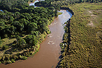 Aerial view of Mara River, Maasai Mara National Reserve, Kenya.