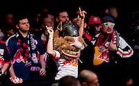 New York Red Bulls fans cheer during the MLS SuperDraft at the Pennsylvania Convention Center in Philadelphia, PA, on January 16, 2014.