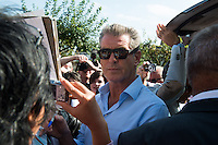 Pierce Brosnan arrives at his hotel to attend the 40th Deauville American Film Festival - France