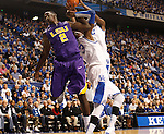 The ball is snatched away from LSU forward Johnny O'Bryant III by UK forward Nerlens Noel during the first half of the men's basketball game vs. LSU at Rupp Arena, in Lexington, Ky., on Saturday, January 26, 2013. Photo by Genevieve Adams  | Staff.
