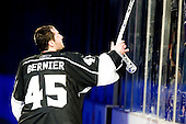 Jonathan Bernier (Los Angeles Kings, #45) as a first star of the game gave hockey stick to fan after ice-hockey match between Los Angeles Kings and Phoenix Coyotes in NHL league, March 3, 2011 at Staples Center, Los Angeles, USA. (Photo By Matic Klansek Velej / Sportida.com)