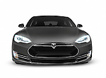 Gray 2017 Tesla Model S luxury electric car front view isolated on white background with clipping path