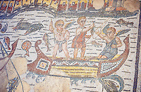 Detail of cupids fishing from a boat, a Roman Mosaic from the Room of The Fishing Cupids, room 24, at the Villa Romana del Casale which containis the richest, largest and most complex collection of Roman mosaics in the world. Constructed in the first quarter of the 4th century AD. Sicily, Italy. A UNESCO World Heritage Site.