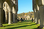 Rievaulx Abbey main aisle arches and windows. North Yorkshire, England