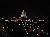 Nighttime view of the United States Capitol looking east from the sixth floor terrace of the Newseum on Pennsylvania Avenue in Washington, D.C. on Thursday, February 16, 2012..Credit: Ron Sachs / CNP