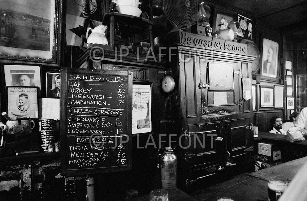 August 1970, Manhattan, New York City, New York State, USA --- The interior and menu of McSorley's Old Ale House in Manhattan in 1970. McSorley's was New York City's oldest bar and it refused female patrons before 1970. --- Image by © JP Laffont/Sygma/CORBIS