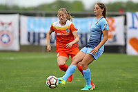 Piscataway, NJ - Saturday May 20, 2017:Janine Beckie, Erica Skroski during a regular season National Women's Soccer League (NWSL) match between Sky Blue FC and the Houston Dash at Yurcak Field.  Sky Blue defeated Houston, 2-1.