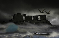 Waves breaking on ruins in a bad weather and two large birds flying through the storm.