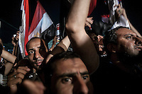 In this Monday, Jul. 15, 2013 photo, Muslim supporters of the ousted president Mohammed Morsi demostrate after prayers in Al Rabaa mosque in Nasr City, Cairo. (Photo/Narciso Contreras).