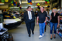 NJ's governor Chris Christie visits a motor store while he visited the Jersey shore's reconstruction, marking the second anniversary of Sandy storm in New Jersey. 10.29.2014. Eduardo MunozAlvarez/VIEWpress