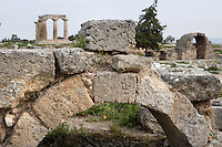 CORINTH, GREECE - APRIL 16 : A detail of an archway near the Temple of Apollo, on April 16, 2007 in Corinth, Greece. The Temple of Apollo is one of the oldest in Greece, originally built in the 7th century AD.  Corinth, founded in Neolithic times, was a major Ancient Greek city, until it was razed by the Romans in 146 BC. Rebuilt a century later it was destroyed by an earthquake in Byzantine times. (Photo by Manuel Cohen)