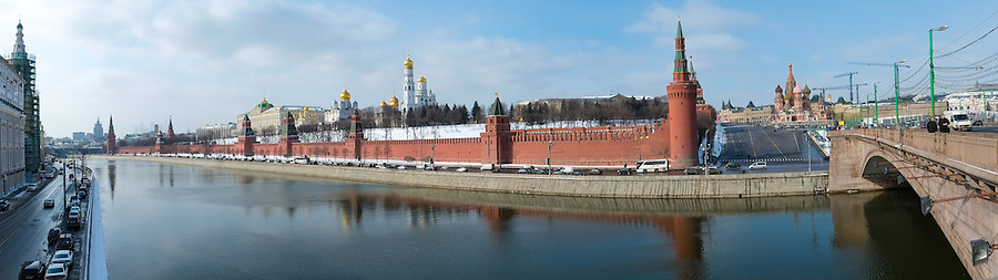 MOSCOW - CIRCA MARCH 2013: Pano view of the Kremlin in Moscow circa 2013. With a population of more than 11 million people is one the largest cities in the world and a popular tourist destination.