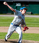 WINSTED,  CT-051217JS04- Gilbert's Hunter Smith (110 delivers a pitch during their game against Thomaston Friday at Walker Field in Winsted. <br />   Jim Shannon Republican-American