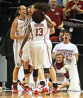Oklahoma teammates celebrate during 86-72 win over James Madison in the first round of the NCAA women's college basketball tournament Sunday March 20, 2011 in Charlottesville, Va. (AP Photo/ Andrew Shurtleff)