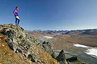 Hiker on a ridge near Caribou Pass, Kongakut river drainage, Brooks range mountains, Arctic National Wildlife Refuge, Alaska