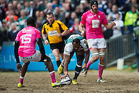 Vereniki Goneva of Leicester Tigers scores a try in the first half. European Rugby Champions Cup quarter final, between Leicester Tigers and Stade Francais on April 10, 2016 at Welford Road in Leicester, England. Photo by: Patrick Khachfe / JMP