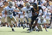 Keenan Allen carries the ball. The University of California Berkeley Golden Bears defeated the UC Davis Aggies 52-3 in their home opener at Memorial Stadium in Berkeley, California on September 4th, 2010.