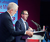 Labour leadership debate &ndash; Birmingham<br />  the third debate between leadership contenders Jeremy Corbyn MP and Owen Smith MP, in front of an audience of party members.<br />  <br /> Carl Dinnen, from ITV News moderates <br /> 18th August 2016.<br /> at the The National Conference Centre, West Midlands.<br /> Great Britain <br /> <br /> Jeremy Corbyn and owen Smith <br /> <br /> Photograph by Elliott Franks <br /> Image licensed to Elliott Franks Photography Services